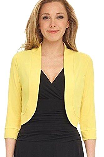3/4 Ärmel Achselzucken (Frauen Bolero Solide Offene - 3/4 - Ärmel EIN Achselzucken Strickjacke Abgeschnitten gelb XL)