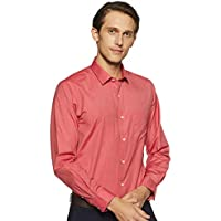 Peter England Men's Solid Slim Fit Cotton Formal Shirt (PSF1041601513_MediumredSolid_44)