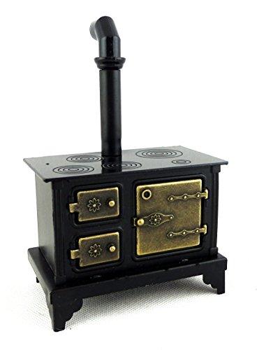 Stufa con Fornelli in Metallo Nero Vecchio Stile Miniatura per Casa delle Bambole 999