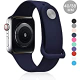 Ersatz-Armband für Apple Watch, 42 mm, 38 mm, 44 mm, 40 mm, Serie 4/3/2/1, Weiches Silikon, 38mm Midnight Blue - Pintuck