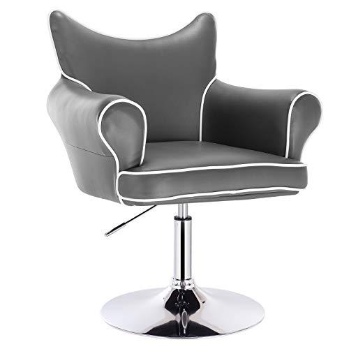 WOLTU® BH105gr 1x Barsessel Loungesessel, stufenlose Höhenverstellung, verchromter Stahl, Kunstleder, gut gepolsterte Sitzfläche mit Armlehne und Rücklehne, Grau -
