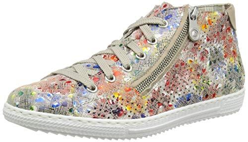 Rieker Damen Frühjahr/Sommer Slip On Sneaker, Mehrfarbig (Ginger-Multi/Nude/ 90 90), 41 EU