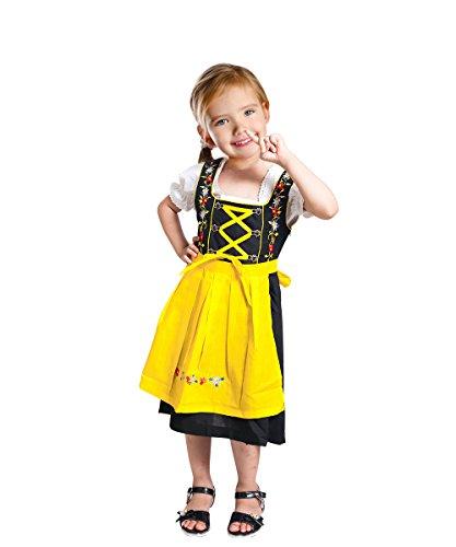 Mädchen Lederhosen Kostüm (Dik05 Dirndl für Kinder, 3 teiliges Trachtenkleid in gelb schwarz, Kleid mit Bluse und gelber Schürze für Mädchen, Gr.)