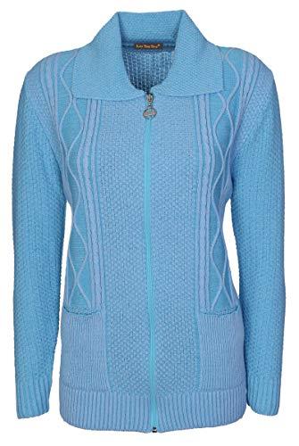 Lets Shop Shop Damen Strickjacke blau Clear Buttons Mid Blue 42 Gr. 50, aqua -