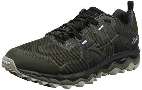 Mizuno Wave Mujin 6, Zapatillas de Trail Running para Hombre, Verde (ForestNight/ForestNight/SilverCloud 31), 42.5 EU