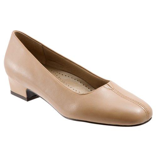 Trotters Doris Ampla Pontas De Imitação De Couro Sapatos De Salto Agulha Taupe