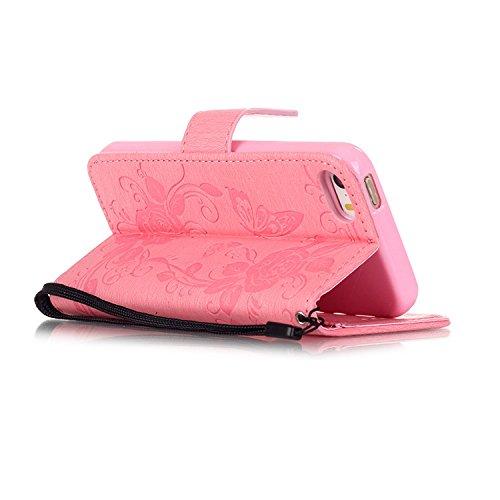 Migliore Choise Flip Cover per iPhone 55S SE 66S Plus Case in pelle PU basamento della shell farfalla fiore Wallet Case regalo perfetto Pink