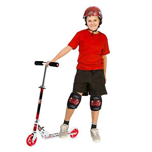 Halo Spiel Faltreifen 2 Rad Druck KICK Kickboard Kombination Kinder Knie Ellbogen Sicherheit pads Helm SET WEIHNACHTSGESCHENK - Rot (Rot Halo-helm)