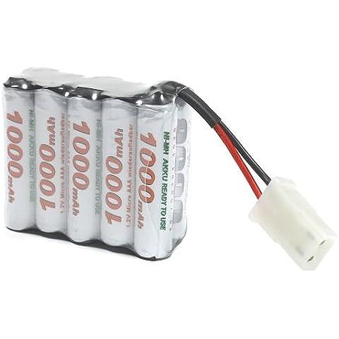 OEGE Akkupack, 12 V, 1000mAh, Ready to Use Technik, Micro AAA in Block Form, Tamiya Stecker