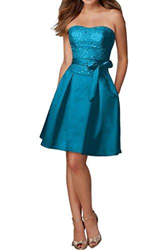 Sunvary Damen Traegerlos Spitze Cocktailkleider Kurz Lace Band Partykleid Abschlussball Neu Blau