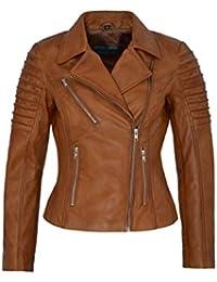 Ladies New 9334 Tan Stylish Fashion Designer Biker Soft Real Napa Leather Jacket