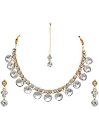 JFL - Fusion Ethnic One Gram Gold Plated American Cubic Zircon Diamond & Pearl Designer Necklace Set With Earring...