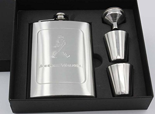 shopee 8oz 230ml Stainless Steel Johnnie Walker Wine Holder / Whiskey Holder / Liquor Holder Imported Hip Flask Set With Gift Box Embossing Whiskey Alcohol Flask Portable Pocket Flagon  available at amazon for Rs.599