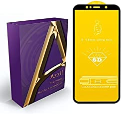 Azzil Tempered Glass Premium Quality 9H [Black 6D] Screen Protector Guard for Samsung Galaxy A7 2018