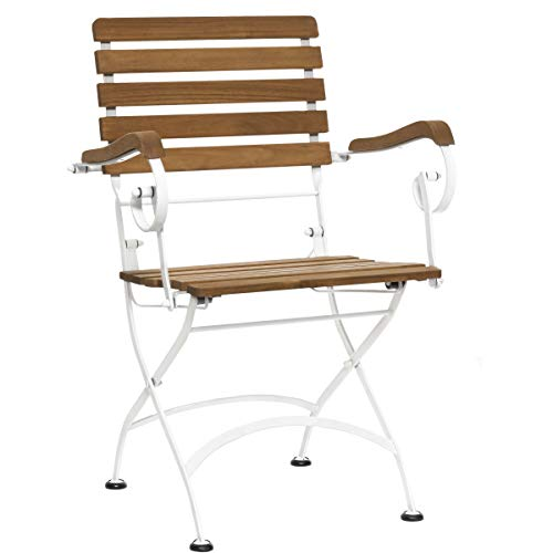 BUTLERS Parklife Gartenstuhl mit Armlehne 59x52x90 cm - Klappbarer Balkon-Stuhl aus FSC-Akazienholz und Metall weiß verzinkt