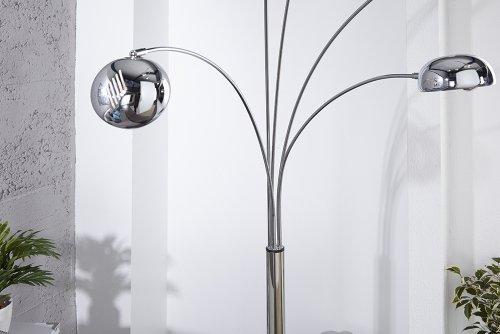 Bogenlampe FIVE LIGHTS mit schwarzem Marmorfuß -