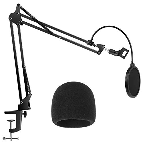 InnoGear Blue Yeti Mikrofonständer Set mit Mikrofon Pop Filter und Schaum Mikrofon Windschutz, Mikrofon Halterung tisch für Blue Yeti/Blue Yeti Pro/Blue Yeti X/Blue Spark