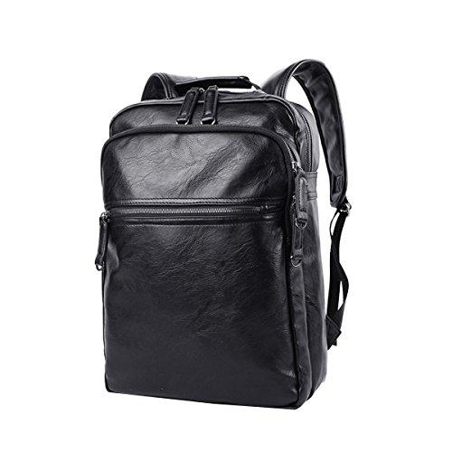 LAIDAYE Umhängetasche Retro Herren Leder Tasche Computer Tasche Rucksack Reisetasche Herren Umhängetasche,Black-OneSize -
