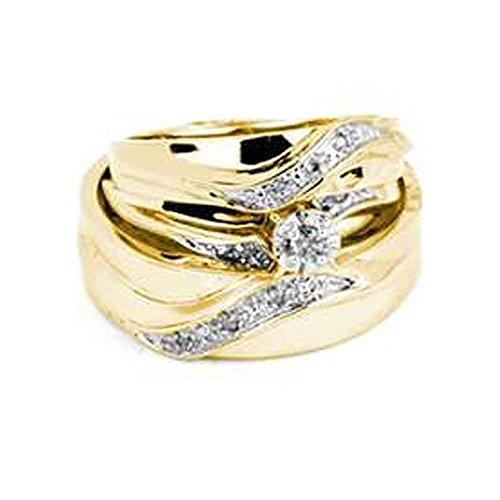 015-carat-ctw-10k-yellow-gold-round-white-diamond-men-womens-engagement-ring-trio-bridal-set