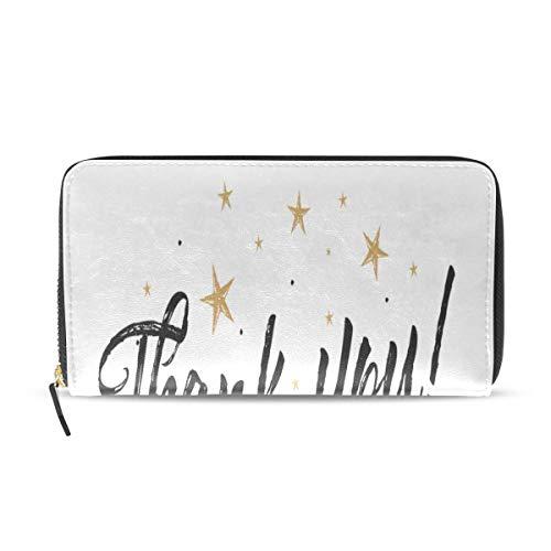 Wietops Vielen Dank Wertschätzung lange Pass Kupplung Geldbörsen Reißverschluss Brieftasche Fall Handtasche Geld Veranstalter Tasche Kreditkarteninhaber für Dame Frauen Mädchen Männer Reisen Geschenk -