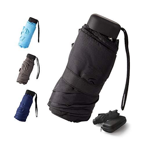 Mini -Schirm Mini Regenschirm - Pocket Taschenschirm -faltender Regenschirm-UV-undurchlässig inkl. Schirm-Tasche & Reise-Etui - klein, leicht & kompak windsicher, stabil (Schwarz)