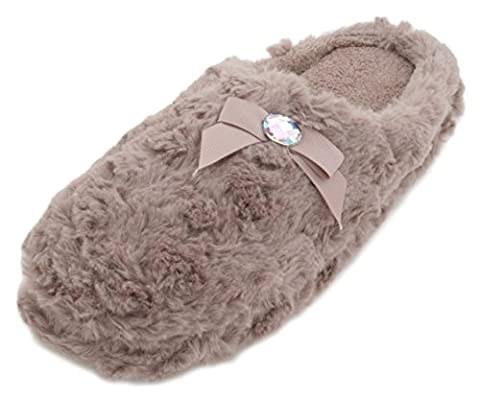Slumberzzz Ladies Curly Faux Fur Mule Slipper with Diamante Bow Brown 5-6 (Strass Pantofole)