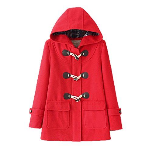 WSLCN Mid-Long Manteaux à Capuche Femme Duffle coat Blouson Bouton Corne Hoodie Veste Décontractée Hiver Chaud en Drap Outwear Coat Automne Slim Fit FR 42 (Asie S) Rouge