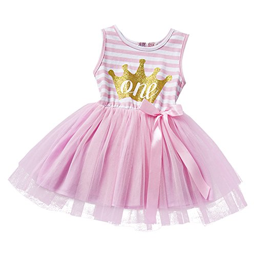 gs kleinkind Baby Mädchen Mein 1. / 2. / 3. Geburtstags Gestreiften Tütü Prinzessin Kleid mit Bowknot Kurze Ärmel Partykleid Fotoshooting Outfits Kostüm Rosa (Mickey Mouse Tutu Kostüm)
