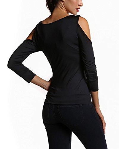 Aidonger Elegante Donna T-shirt Maglie a Manica Lunga Colletto Rotondo per Autunno S-XL Nero