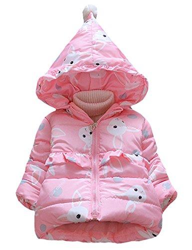 793823fd14f1 Little Hand Kids Girls Winter Warm Coat Cute Rabbit Animal Hoodie Pink  Jacket Fleece Outerwear Age