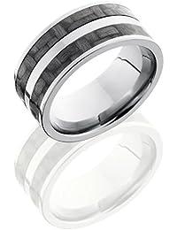 Titanium, Twin Carbon Fiber Inlay Wedding Band (sz H to Z1)