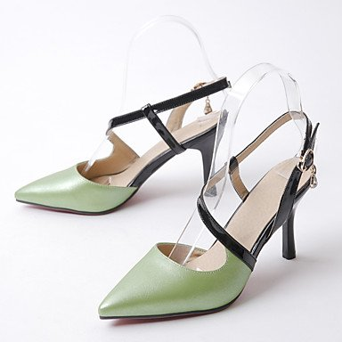 Enochx sandali Primavera Estate Autunno Slingback PU Office & Carriera Party & abito da sera Stiletto Heel strass Green