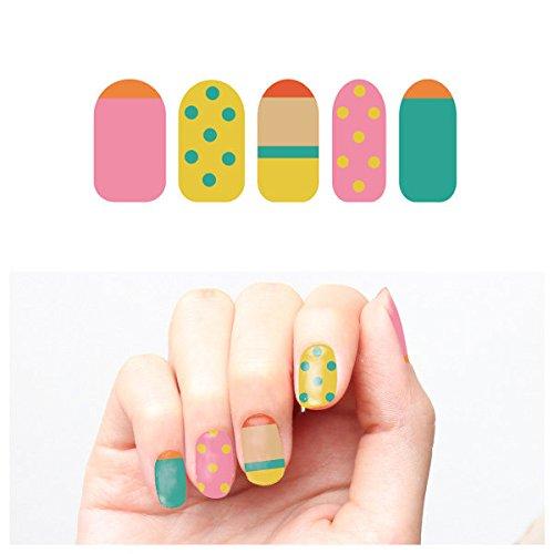 Tattify Autocollants Pour Ongles Pastel - Goutte De Citron (Set de 22)