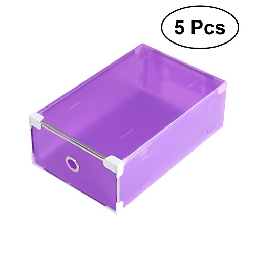 OUNONA Speicher-Box Kunststoff, transparent, stapelbar Container-Kleiderschrank Schublade Organizer Box für Frauen, Mädchen (lila) Schuh-speicher-box