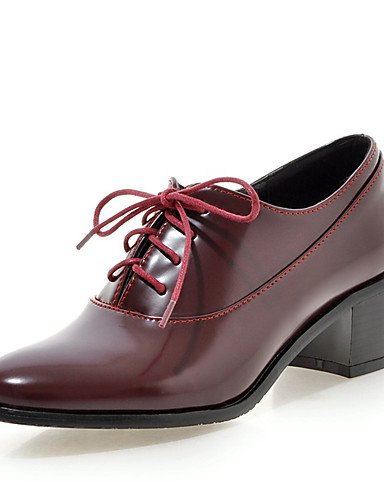 ZQ Scarpe Donna-Stringate-Formale / Casual-Punta arrotondata-Quadrato-Finta pelle-Nero / Bianco / Borgogna , white-us8 / eu39 / uk6 / cn39 , white-us8 / eu39 / uk6 / cn39 burgundy-us5 / eu35 / uk3 / cn34