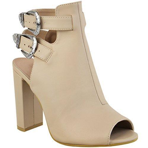 Sandales hauteur cheville - talons hauts/épais - style western/cowboy - femme Faux cuir couleur chair/chic