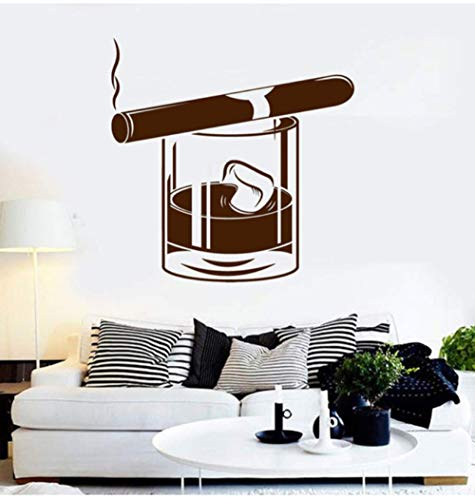 Olivialulu Vinyl Wall Applique Whisky Glas Cigar Bar Herrenhaus Wohnzimmer Mode Stil Dekorative Aufkleber Jb07 57 * 57 Cm Anpassbare -