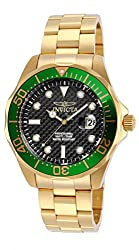 Invicta Pro Diver Men's Analogue Classic Quartz Watch With Stainless Steel Gold Plated Bracelet – 14358