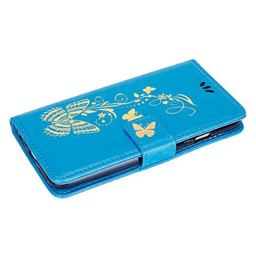 iPhone SE Hülle,iPhone 5S Hülle,SainCat Apple iPhone SE/5S/5 Leder Wallet Tasche Handyhülle [Diagonal Rose Muster] Ledertasche Brieftasche im BookStyle PU Leder Hülle Wallet Case Folio Rose Gold Schut Golden Butterfly-Blau