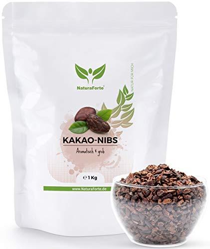 NaturaForte Kakao-Nibs 1kg, Ohne Zucker, Natürlich, Vegan, Rein und Glutenfrei, Intensives Aroma aus hochwertigen Cacao-Bohnen, Perfekt zum Backen und Kochen