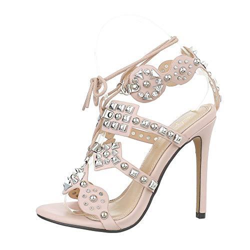 Ital-Design Damenschuhe Sandalen & Sandaletten High Heel Sandaletten Synthetik Hellrosa Gr. 40