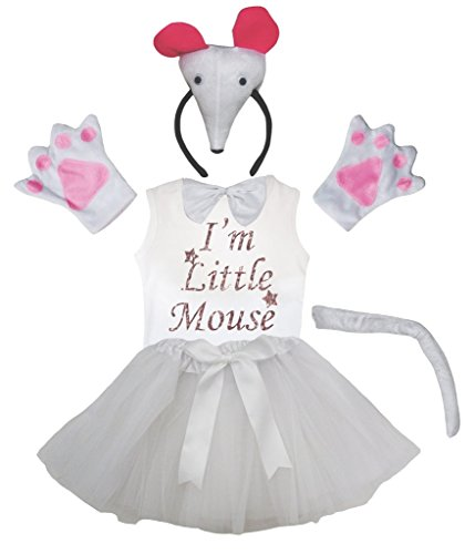 Bin Ein Ich Kostüm Maus - Petitebelle Ich bin Mäuschen 3D-Stirnband Bowtie Hemd Rock Mädchen 6pc Kostüm 1-2 Jahre Weiß
