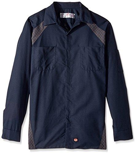 Red Kap Men's Big and Tall Diamond Plate Long-Sleeve Work Shirt, Navy, 3X-Large - Big And Tall Long Sleeve Work Shirt