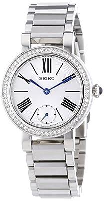 Seiko Classic - Reloj de cuarzo para mujer, con correa de acero inoxidable, color plateado