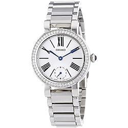 SRK027P1 Seiko Women's Quartz Analogue Watch-White Face-Grey Steel Bracelet