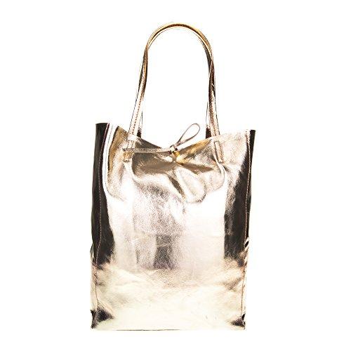 Firenze Artegiani Bolso Shopping Bag De Mujer Piel Auténtica, Acabado Metalizado Umhängeta Preisvergleich