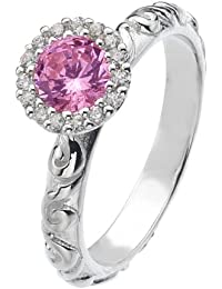Virtue Silver Stackable VRS5005 Fine Silver Ring with Round Pink Cubic Zirconia