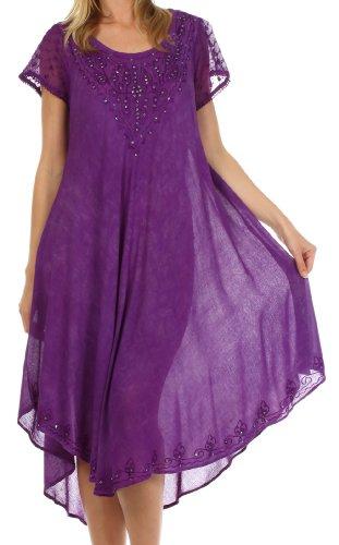 Sakkas 715D Michiko Stein gewaschen Kaftan Kleid / Deckel - Lila - EineGröße (Lila Kaftan)