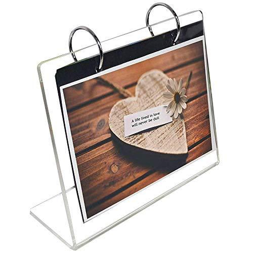 leoyoubei klar Acryl-seitige Frames Desktop Display Halterung L Typ mit vertikaler Ständer und 4mm dicker Menu Halter, Foto Clip 13zeigt 26Fotos Fotografie Studio/Album 4x 6 -