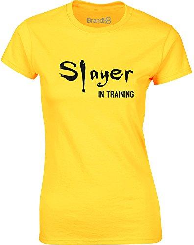 Brand88 - Slayer in Training, Gedruckt Frauen T-Shirt Gänseblümchen-Gelb/Schwarz